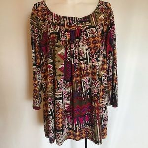 Ruby Rd Plus Size Scoop Neck Stretch Blouse 1X